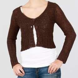 Lou Lou Womens Button Front Long Sleeve Crop Cardigan