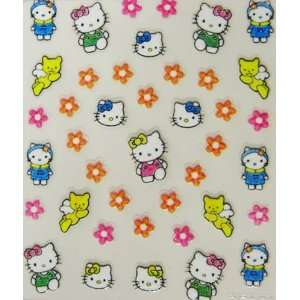 XH 2012 latest 3D hello kitty nail sticker with flowers