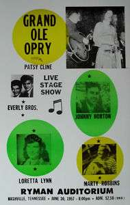 Grand Ole Opry Poster w/ Johnny Horton & Patsy Cline