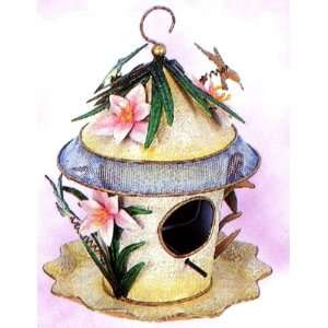 Hummingbird with Lily Outdoor Hanging Combination Birdhouse & Bird