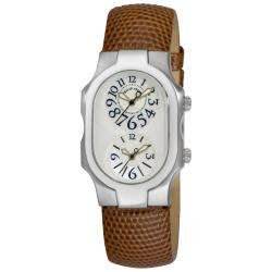 Philip Stein Womens Signature Brown Strap Dual Time Watch