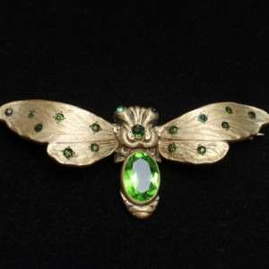 Pin Art Nouveau Green Stones Vintage Figural Insect Bug Brooch