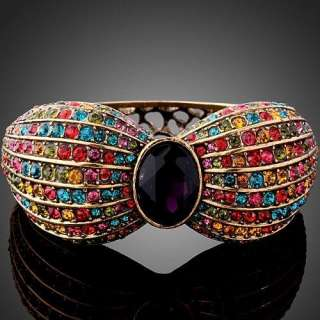 Rhinestone Colorful Swarovski Crystal 18K Gold GP Bangle Cuff Bracelet