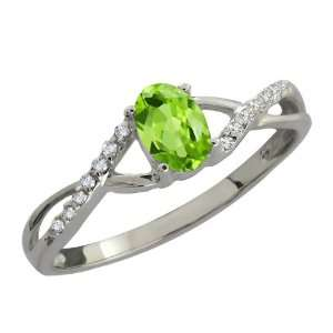 0.58 Ct Oval Green Peridot and White Diamond Sterling