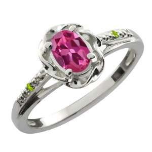 0.51 Ct Oval Pink Tourmaline Green Peridot 18K White Gold