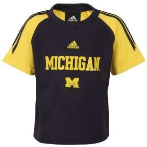 adidas Michigan Wolverines Toddler Navy Blue Primary Logo Raglan T