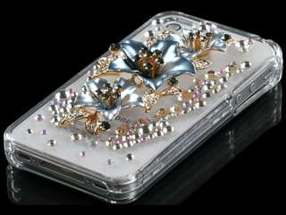 DIAMOND HARD CASE COVER APPLE IPHONE 4 4S PEARL FLOWER