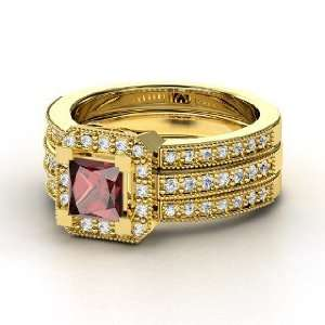 Va Voom Ring, Princess Red Garnet 14K Yellow Gold Ring with Diamond