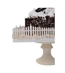 White Lazer Cut Picket Fence Wedding Cake Plate Plateau Stand Wrap