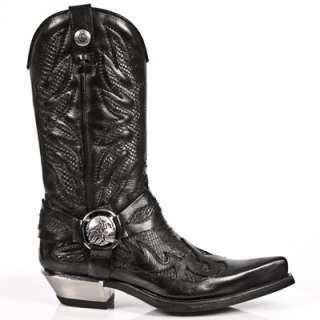 NEWROCK Mens New Rock 7991 West Cowboy Boots Black Leather Snake Skin