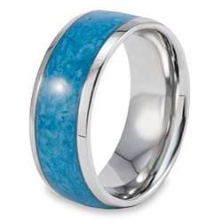 Stainless Steel Blue Resin Inlay Ring