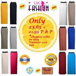 Ladies Gypsy Long Jersey Maxi Dress Skirt Womens Skirt (SIZE 8 14