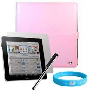 Pink Melrose Leather Case for Apple iPad + Screen Protector