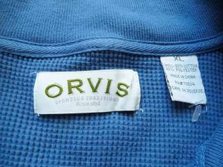 Orvis Mens Long Sleeve Henley Blue Waffle Knit Size XL Button Up