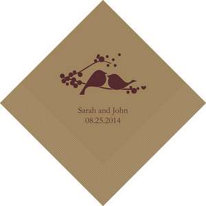 100 Love Birds Personalized Wedding Luncheon Napkins