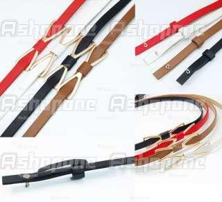 Womens Metal Butterfly Bowknot Skinny Thin PU Leather Waistband Belt