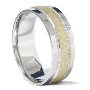 Mens 950 Platinum & 18K Gold Hammered Wedding Band Ring Jewelry