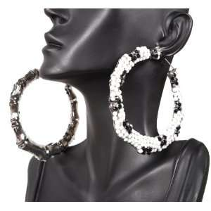 Iced Out Basketball Wives White 3 Inch Bamboo Hoop Earrings POParazzi