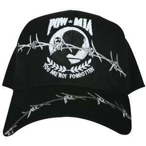 Black Embroidered Pow Mia Not Forgotten Cap Sports