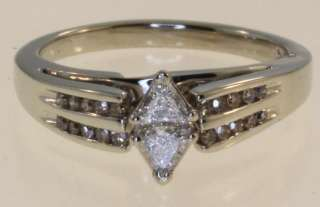 10k white gold trillion diamond engagement ring estate ladies vintage