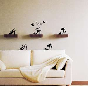 High Heels Adhesive Removable Wall Decor Accent Graphic Sticker Decal