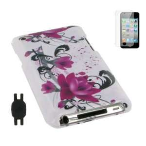 White with Red Flower Design Snap On Hard Case with Screen