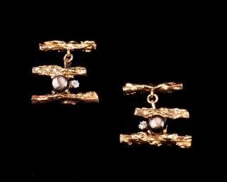 Estate 14K Gold Black Star Sapphire & Diamond Cufflinks