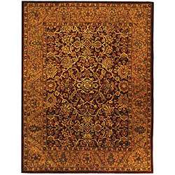 Handmade Taj Mahal Burgundy/ Gold Wool Rug (83 x 11)  Overstock