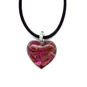 Pink Murano Glass Heart with Pure Platinum Leaf on 18