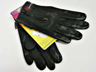Driving Gloves Black Leather Racing Glove Zip Close Large Motorcycle