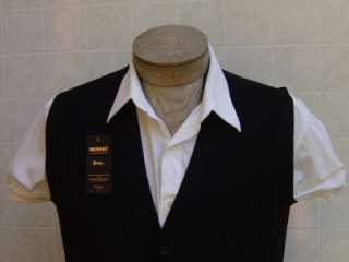 Baruffa MURANO 100 Merino Wool Mens Cardigan Pocket Vest Black