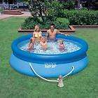 swimming pool set with filter pump ready for water in
