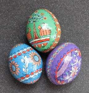 Pysanka Wooden Easter Eggs, Ukrainian Pysanky 3 T