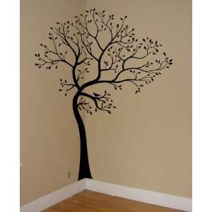 BLACK MATTE MATERIAL Large 6ft Tree Wall Decal with 18