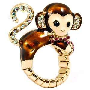 The Cutest Designer Inspired Crystal Monkey Stretch Ring Ever Jewelry