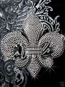 Silver Fleur De Lis Rhinestone Iron on Transfers Hot