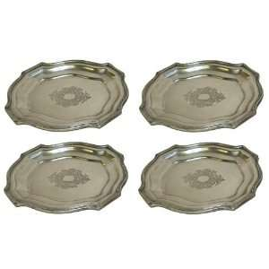 Antique Silver Chippendale Tray, Set of 4  Kitchen