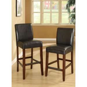 Set of 2 Bar Chairs with Black Finish Legs and Black Faux