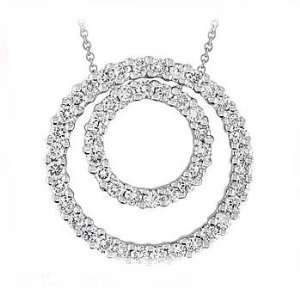 75Ct Round Diamond Eternity Pendant 14K Gold Pave Circle Jewelry