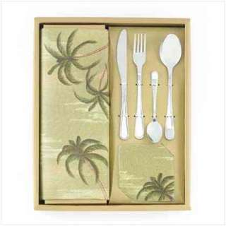 24 PIECE PALM TREE TABLE TOP SET COASTERS PLACEMATS