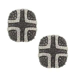 Button Style Black/ White Pave Diamond Earrings 2.00ct Jewelry