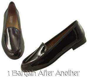 Silhouettes Ladies Black Patent Loafer Flats Shoes Size 8 WW