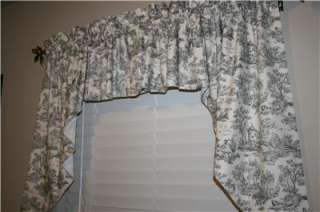 Country French Toile Swag Valance, Black, Handmade, 44x12/30 ea