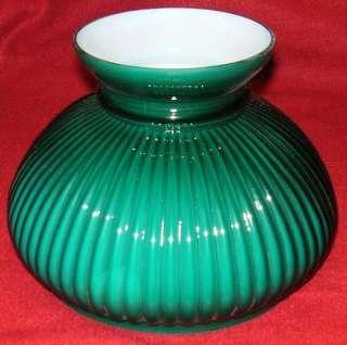 GREEN CASED GLASS SHADE fits oil kerosene student lamp / seven inch