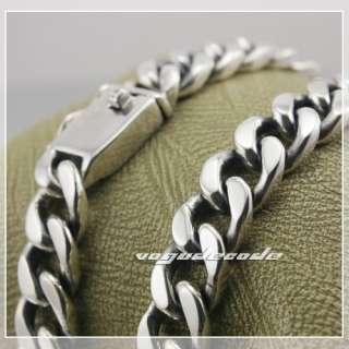 Huge & Heavy Cuban Chain Link 925 Sterling Silver Men`s Biker Necklace