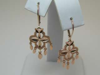 SOLID 14K PINK ROSE GOLD DANLGE LEVERBACK EARRINGS #3064
