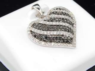 GOLD HEART LOVE BLACK WHITE DIAMOND PENDANT CHARM FOR NECKLACE
