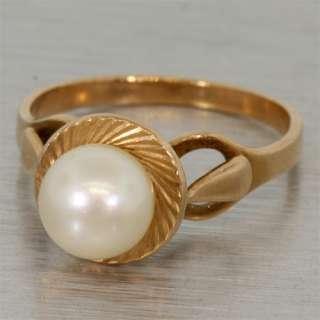 Estate Vintage Russian 14k 583 Rose Gold Pearl Ring