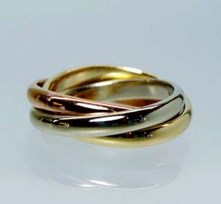 Cartier 18K Gold Tri Color Trinity Rolling Rings Sz5 o50