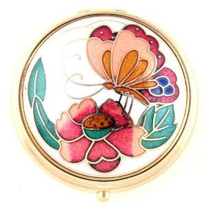 Fashionable Pill Box   Gold Tone Color with Flower and